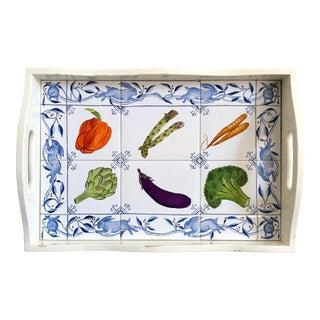 Vintage Handpainted Vegetable Tile Tray For Sale