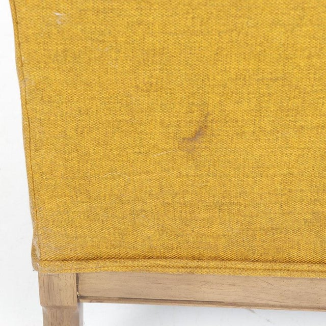 Vintage Mid-Century Porter's Chair in Mustard Wool Upholstery on a Limed Wood Base For Sale - Image 10 of 13