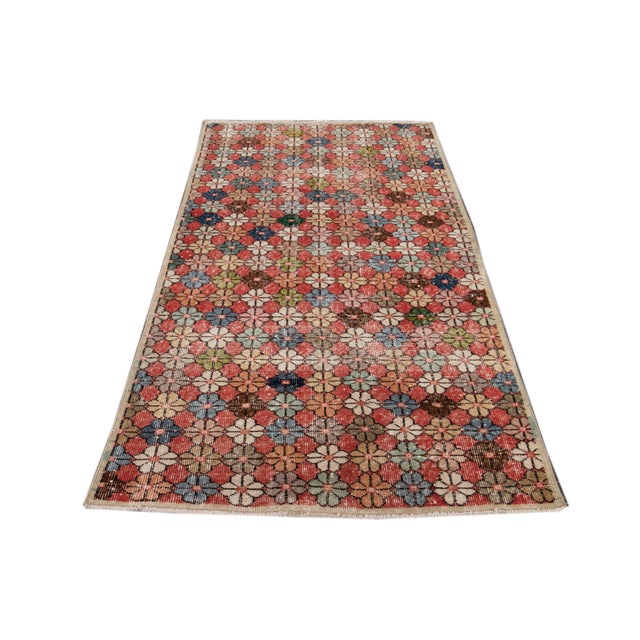 Vintage Turkish Scatter Wool Rug 4 X 7 For Sale - Image 12 of 13