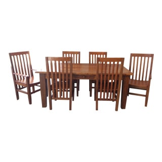 Arts and Crafts Reclaimed Teak Wood Dining Set - 7 Pieces For Sale