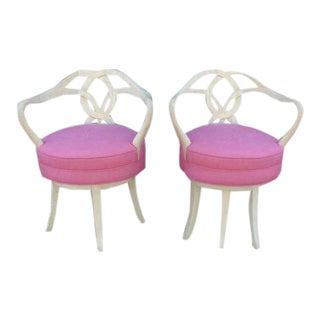 Grosfeld House Carved Wood Swivel Chairs