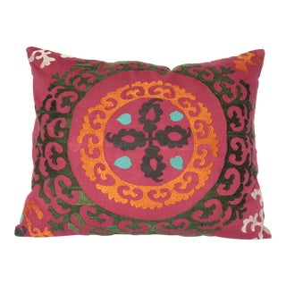 Embroidery HandMade Orange Tone Sizani Pillow Cover -22''x18'' Inches For Sale