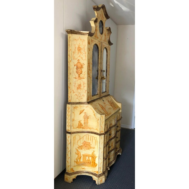 Metal 19th C. Italian Hand Painted Secretary Bookcase With Chinoiserie Decor For Sale - Image 7 of 11