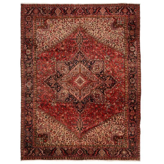 Gray Vintage Persian Heriz Rug with Mid-Century Modern Style For Sale - Image 8 of 8