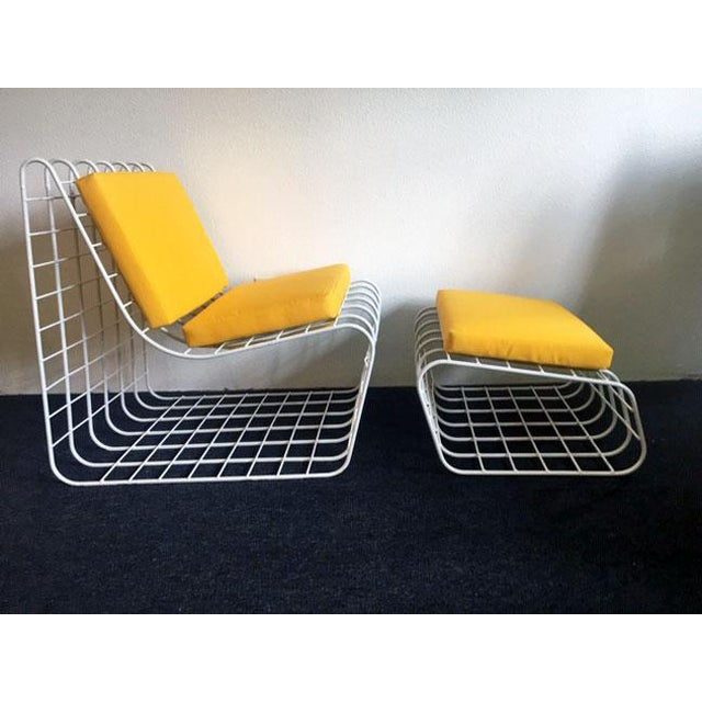 1970s Mod Wire Lounge Chair With Ottoman For Sale - Image 13 of 13