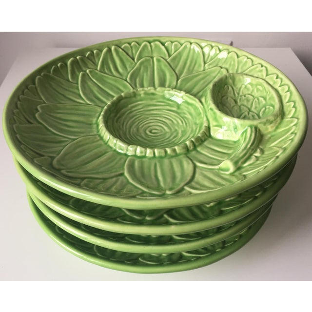 Vintage Olfaire Faience Artichoke Dishes - Set of 4 - Image 8 of 8