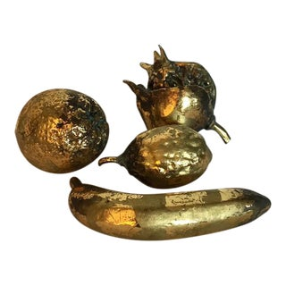 Gold-Leaf Decorative Fruit - Set of 4