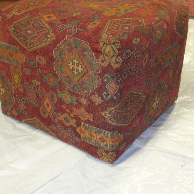 Boho Chic Ottoman with Kilim Style Fabric For Sale - Image 3 of 4