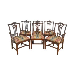 Chippendale Style Custom Mahogany Set of 6 Vintage Dining Chairs For Sale