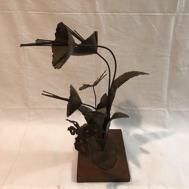 Brutalist Floral Metal Sculpture - Image 5 of 11