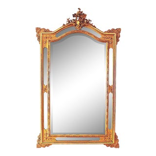 Antique French Beveled Mirror on Mirror For Sale