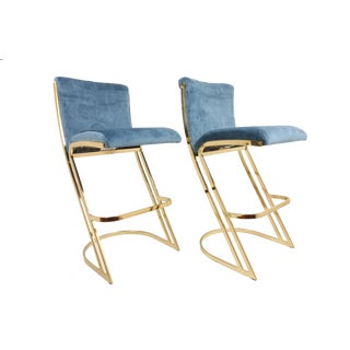 1980s Vintage Brass Bar Stools by Contemporary Shells Inc - A Pair For Sale