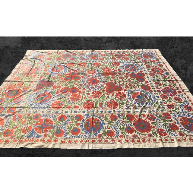 Handmade Suzani Pastel Floral Grand King Size Bedspread - 8' X 10' For Sale - Image 9 of 10