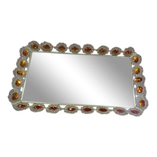 1940's Vintage Antique Large Gold Tone Mirrored Tray For Sale
