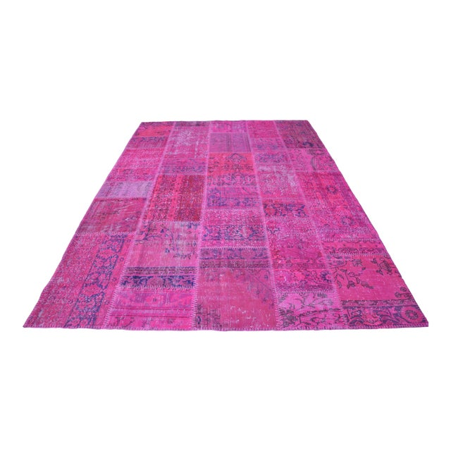 Pink Overdyed Turkish Anatolian Patchwork Carpet - 7′1″ × 10′ For Sale