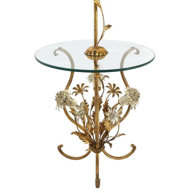 Gold Decorative Gilt Metal Floor Side Table Lamp For Sale - Image 8 of 9