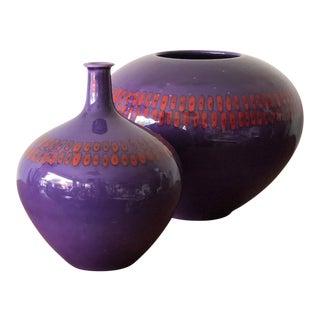 Alvino Bagni for Raymor Purple Ceramic Vases - a Pair For Sale