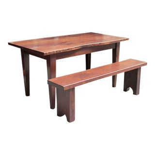 Live Edge Solid Walnut Farm Table & Bench - A Pair