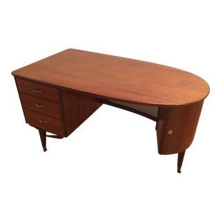Mid-Century Teak Half Oval Desk