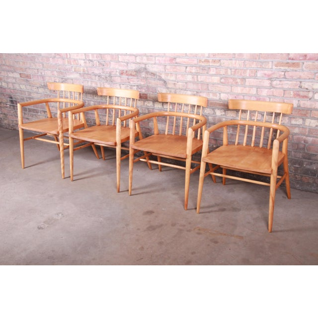 Planner Group Paul McCobb Planner Group Solid Maple Spindle Back Armchairs - Set of 4 For Sale - Image 4 of 13