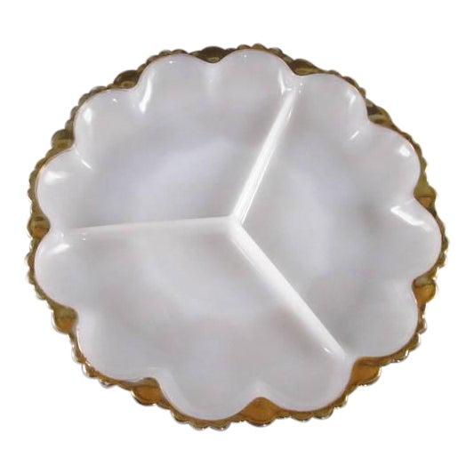 Vintage Milk Glass Relish Plate For Sale