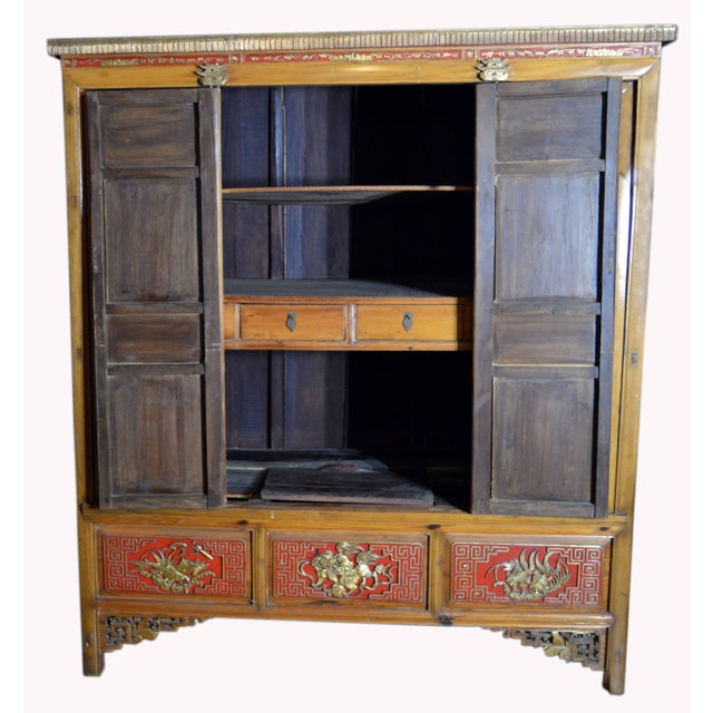 Metal 19th Century Chinese Qing Dynasty Wooden Armoire With Hand-Carved Gilt Panels For Sale - Image 7 of 13