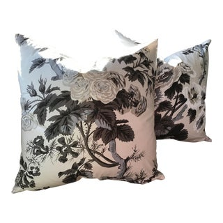 Schumacher Hollyhock Pyne in Charcoal Down Filled Pillows - a Pair For Sale