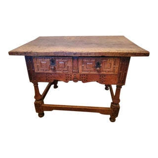 17th Century Rustic Iberian Walnut Console Table For Sale