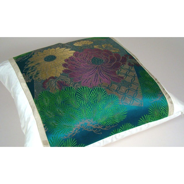 Antique Japanese Silk Obi Lotus Flower Pillow Cover For Sale - Image 4 of 10