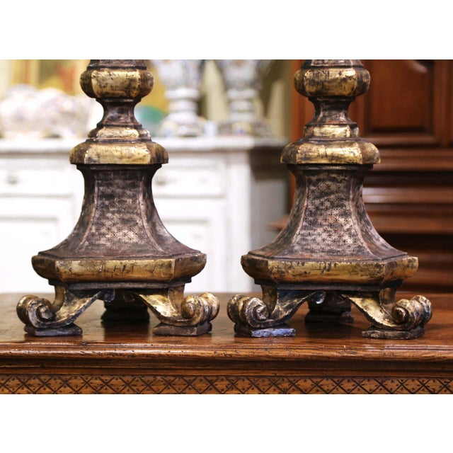 Italian 19th Century Italian Carved Two-Tone Giltwood Cathedral Candlesticks - a Pair For Sale - Image 3 of 13