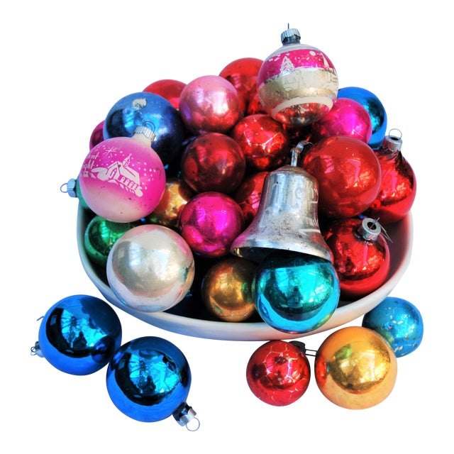 vintage christmas ornaments set of 43 for sale