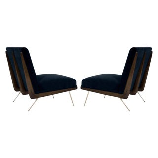 Walnut Boomerang Lounge Chairs on Brass Legs For Sale