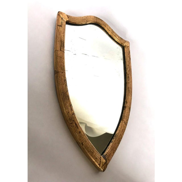 Antique English Gilded Shield-Shaped Mirror For Sale - Image 4 of 8