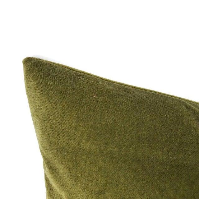"""Transitional Kravet Delta Velvet in Loden Green Pillow Cover - 20"""" X 20"""" Solid Moss Green Velvet Cushion Case For Sale - Image 3 of 7"""