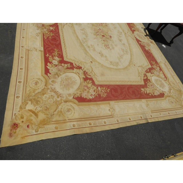 Vintage Tan Floral Aubusson Area Rug - 8′6″ × 11′7″ - Image 6 of 11