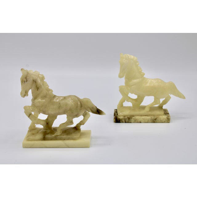 Mid 20th Century Mid-20th Century Italian Alabaster Mantle Horse Bookends - a Pair For Sale - Image 5 of 13
