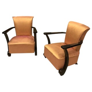 French Art Deco Ebony Lacquered Club Chairs - A Pair For Sale