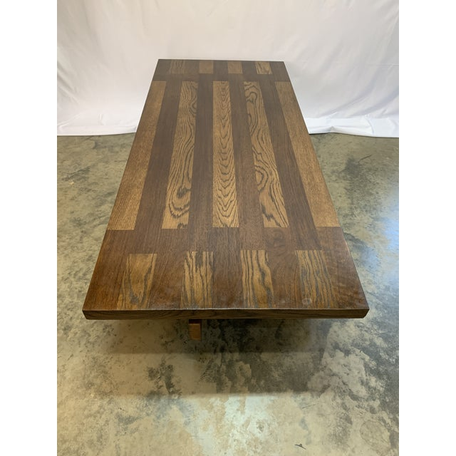 Brown 1970s Lane Brutalist Walnut and Oak Coffee Table For Sale - Image 8 of 8