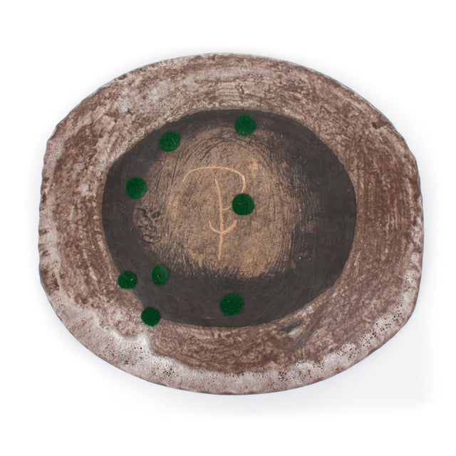 Mid 20th Century Ceramic Platter With Glass Center For Sale - Image 5 of 6