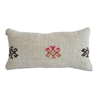 Lumbar Pillow Cover. 100% Natural Hemp Turkish Kilim Rug Throw Pillow - 13ʺ X 26ʺ For Sale