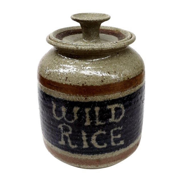 Hand Turned Pottery Wild Rice Container For Sale