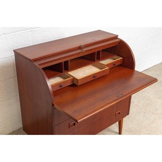 Mid Century Swedish Egon Ostergaard Rolltop Secretary Desk For Sale - Image 9 of 11