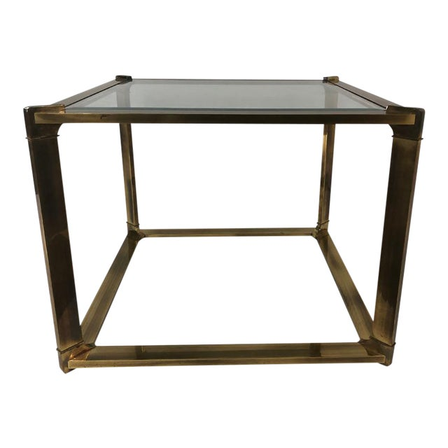 1960s Mastercraft Mid Century Cube Brass Side/Coffee Table For Sale