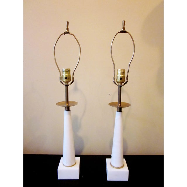 1950s Modernist White Italian Alabaster and Brass Column Boudoir Table Lamps For Sale - Image 10 of 12