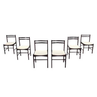 Six Mid Century Danish Modern Rosewood Dining Chairs New Upholstery For Sale
