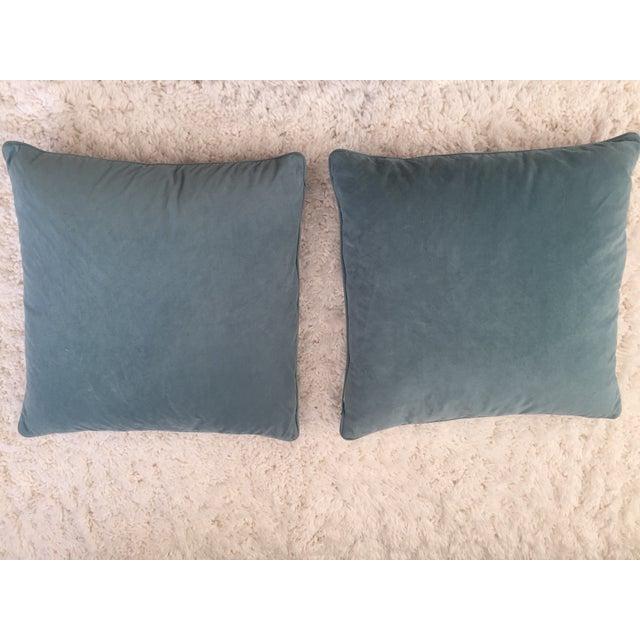 Custom Aqua Blue Geometric Pillows - A Pair - Image 3 of 3