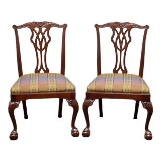 Councill Mahogany Chippendale Ball in Claw Dining Side Chairs - Pair 1 For Sale