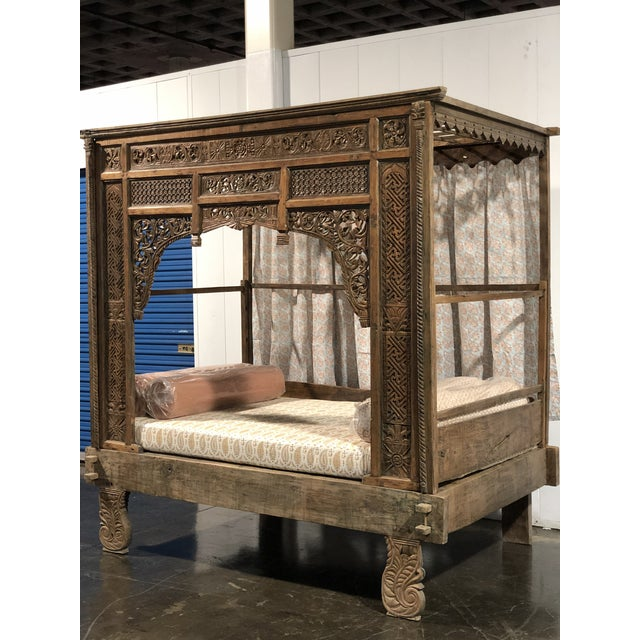 Indian Antique Balinese Indian Boho Chic Teakwood Canopy Daybed in Elizabeth Eakins Fabrics For Sale - Image 3 of 13