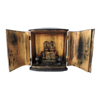 Antique Gold and Black Lacquer Japanese Zushi Shrine or Temple, Boxed (Gilt) For Sale