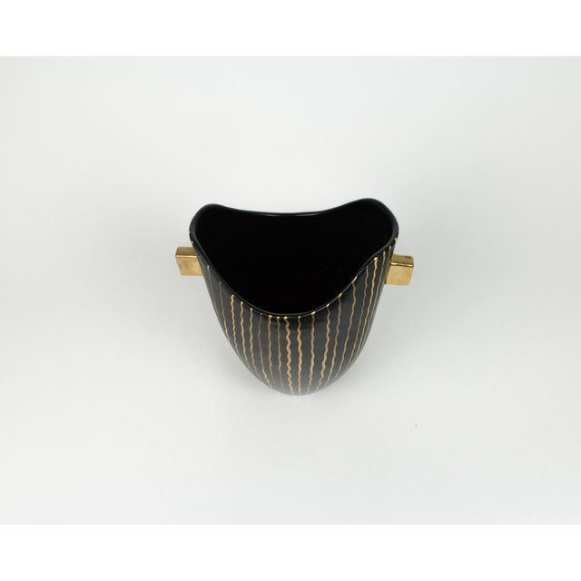Mid Century Italian Striped Black and Gold Vase For Sale In New York - Image 6 of 13
